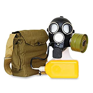 OldShop Gas Mask REPLICA Gp-7V Russian USSR Military Rubber With All Equipment: Mask, Bag, Filter and Flask, Anti-fog Stickers, Small Membranes Color Black | Size: S (1Y)
