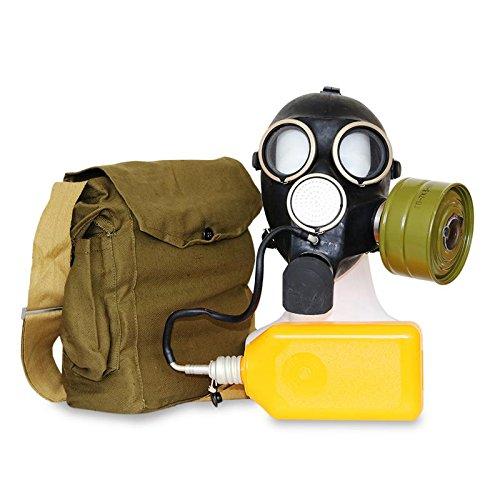 (OldShop Gasmaske Replica Gp-7V Russische UDSSR Militärgummi mit allem Zubehör: Maske, Beutel, Filter und Flasche, Antibeschlagaufkleber, kleine Membranen Farbe: Schwarz | Größe: M)