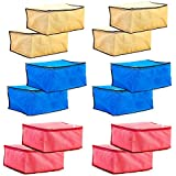Solimo 12 Piece Non Woven Fabric Saree Cover Set, Large, Pink, Blue and Beige