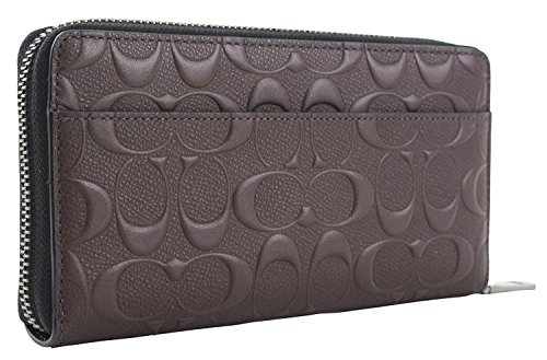 Coach Men's Embossed Signature Logo Leather Long Zip Wallet, Style F58113 - Brown -