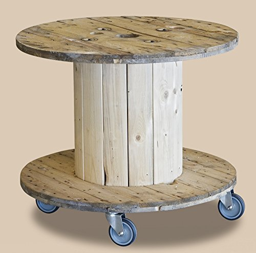DAFLOXX Beistelltisch Rondel 80x71cm mit Rollen Kabeltrommel Tisch Trommel Holz Braun