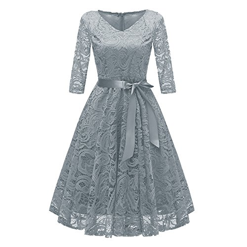 (KPILP Women Dress Lace Cocktail V-Neck Party Elegant 3/4 Sleeve Cocktailkleide Formal Swing Vintage Princess Floral (Grau,EU-38/CN-S)