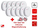 10er Set Flamingo optischer Rauchmelder mit Magnethalter, 85dB, Batteriewarnung, EN14604, FA23Set-10
