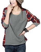 Minetom Neue Mode Langarm-Plaid Hemd grundiert Frauen weiblich Pullover SML XL XXL Größe lose Bluse