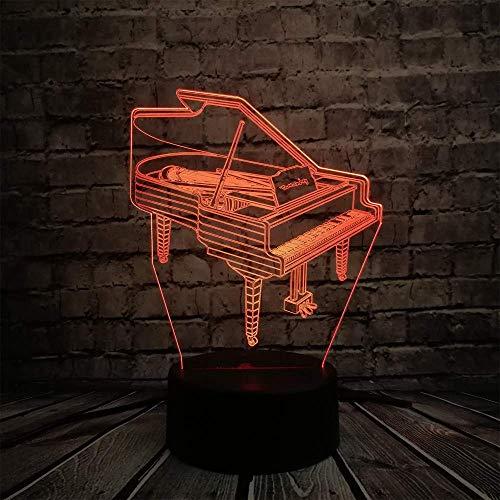 Leuchten für Kinder/Musikinstrument Retro Klavier 3D USB LED Lampe 7 Farben Birne Musiker Geschenk Kinderzimmer Dekoration Elegantes Nachtlicht