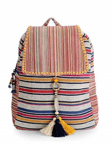 The House of tara Unisex Fabric Handloom Everyday Backpack (Multicolour)