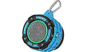 Enceinte Bluetooth de Douche Portable, BassPal Haut-Parleur Bluetooth IPX7 étanche Avec son HD Fort, Spectacle de Lumière, Ventouse, Crochet Robuste, Haut-Parleur Sans Fil pour la Randonnée à la Plage