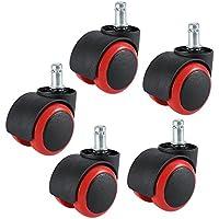 "Oficina ruedas, dicasal 2""compatible giratorio silla ruedas tallo tornillo ruedas Universal tamaño estándar diámetro 11mm x 25mm Stem Longitud (7/16"" x 31/32""), 5unidades), color rojo"