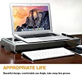 DishyKooker Portable Computer Stand Aluminum Laptop Stand Desk Dock Holder Bracket for App-le iMac/Tablet/MacBook Pro/PC/Notebook Base Silver Small 400 * 210 * 50MM