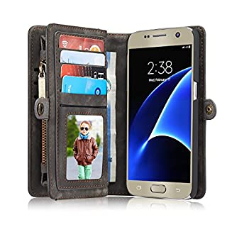 Leather Wallet Phone Case for Samsung Galaxy S7,Premium Zipper Flip Wallet Case Cover With Detachable Magnetic Hard Case,Grey