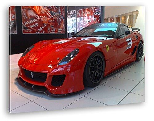 deyoli Roter Ferrari in Einer Ausstellung Format: 60x40 als Leinwandbild, Motiv fertig gerahmt auf Echtholzrahmen, Hochwertiger Digitaldruck mit Rahmen, Kein Poster oder Plakat
