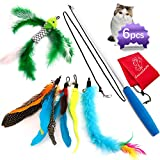 Cat Feather Toys,Cat Toys Feather Wand,Kitten Toys,Interactive Cat Feather Toys Retractable Wand,1 PCS Carbon Fiber Telescopic Cat Teaser Wand,1 PCS Yellow Caterpillar Toy,4 PCS Natural Feathers Toys