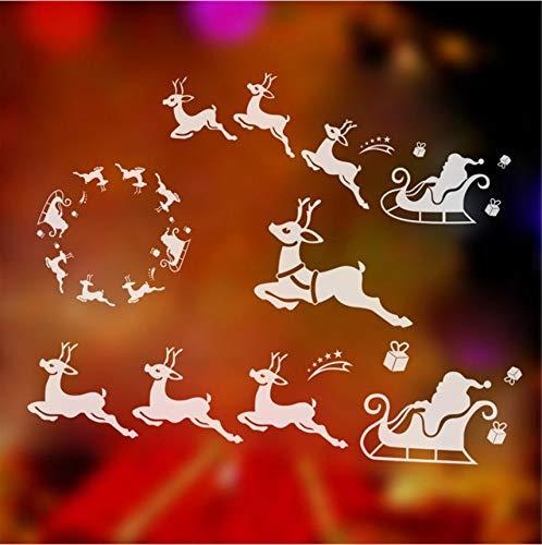 Cczxfcc Fenster Decor Rentier Schlitten Weihnachten Wandaufkleber Für Home Weihnachtsdekoration Neujahr Geschenke Wohnzimmer Glas Vinyl Diy Art Aufkleber -