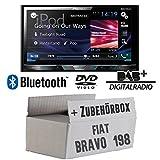 Fiat Bravo 198 - Pioneer AVH-X5800DAB - 2DIN Multimedia Autoradio inkl. DAB Antenne - Einbauset