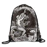 HIDFAA Kordelzug Bag Cool Mermaid Black Drawstring Bags Fashion Gym Backpacks