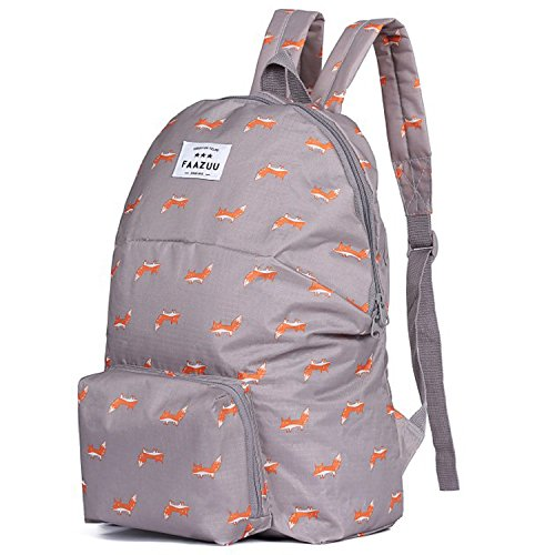 ASkyl Polyester Waterproof Foldable Collapsible Rucksack Unisex Grey Backpack for Travel and Sports
