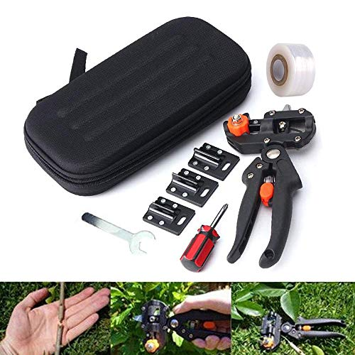 Vuffuw 2-in-1 Multifunction Garden Grafting Pruning Pruner Tool Kit Set, Garden Grafting Tool Cut U Cut V Cut ? with Grafting Tape, Screwdriver Wrenches, Plant Branch Twig Vine Fruit Tree Grafting