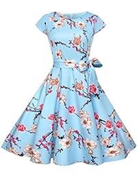 4a0cbad76d6aed SUCES Damen Vintage Hepburn Print Spitze Kleid Rockabilly Kleid Partykleid  Cocktailkleid Damen Elegant…