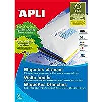 APLI Etiquetas adhesivas para inkjet. laser y fotocopiadoras blanca cantos rectos 100 hojas 70 x 25.4mm