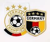 2er-Set, Fussball Stick Abzeichen weiß, schwarz / Deutschland Germany Champions / Gold Stickerei, Aufbügler, Applikation, Patch, Patches, Bügelbild für Trikot, Kleidung, Taschen / National Mannschaft Team