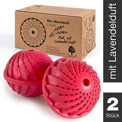 ProfessionalTree Waschball für Waschmaschine - 2 Stück - Waschkugel mit Keramikperlen - Waschen ohne Waschmittel - Pinker Öko Waschball mit Lavendel Duftstoffen