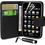 Supergets® Samsung Galaxy Ace S5830 Wallet Design Case, Screen Protector,Touch Screen Stylus And Polishing Cloth (Black)