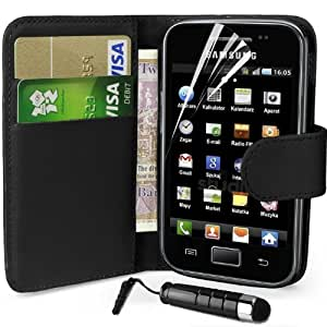 Supergets® Samsung Galaxy Ace S5830 Wallet Design Case, Screen Protector,Touch Screen Stylus And Polishing Cloth (Black) by SUPERGETS®