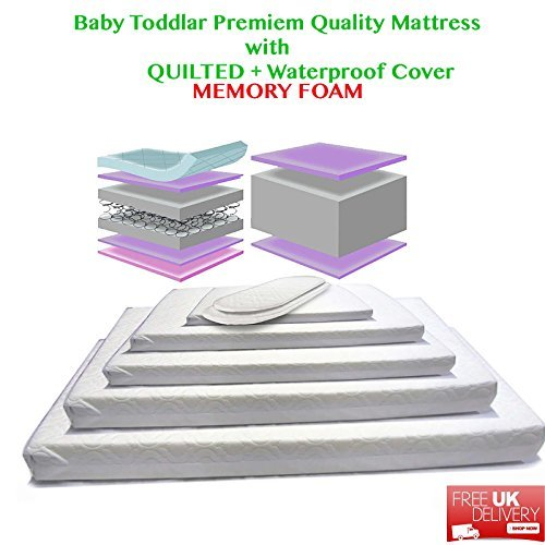 Baby Toddler Cot Bed WaterProof And Quilted Memory Foam Mattress All Sizes Available