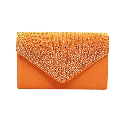 Damen Clutch Ulanda Satin Strass Abendtasche Frauen Handtasche Umhängetaschen Abend Hochzeit Braut Partei Abschlussball Geldbörse Umschlag Schultertasche Orange