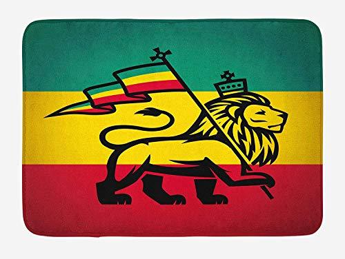 (ZKHTO Rasta Bath Mat, Judah Lion with a Rastafari Flag King Jungle Reggae Theme Art Print, Plush Bathroom Decor Mat with Non Slip Backing, 23.6 W X 15.7 W Inches, Black Green Yellow and Red)