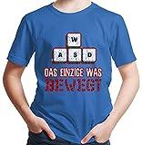 HARIZ  Jungen T-Shirt WASD Das Einzige was Bewegt Gamer Gaming Sprüche Zocken PC Level Inkl. Geschenk Karte Royal Blau 104/3-4 Jahre