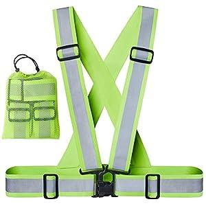 Xcelenze – Premium Warnweste running Reflektorweste laufen Sicherheitsweste sport gelb für Erwachsene, Kinder | elastisch, leicht, einstellbar | Sichtbar für Jogger, Fahrrad, Motorrad, Joggen + Tasche