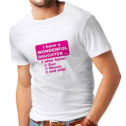 Männer T-Shirt Ich habe eine Tochter - Vatertag, Weihnachten, Geburtstag, Jubiläumsgeschenk für Vater (XX-Large Weiß Magenta)