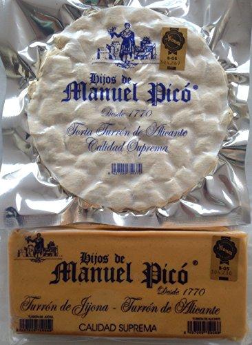 Lote de 1 Torta Imperial 200 g y 1 pastilla Turron blando Jijona 300 g - SIN GLUTEN - Calidad Suprema