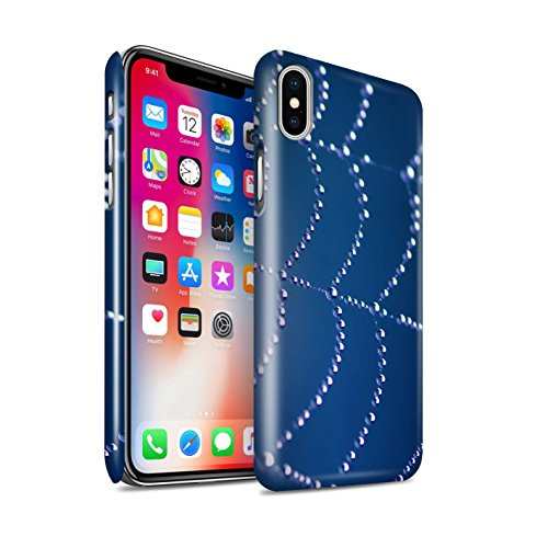 STUFF4 Glanz Snap-On Hülle / Case für Apple iPhone X/10 / Rot Muster / Spinnen Netz Perlen Kollektion Blau
