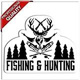 SkinoEu 1 x Autocollant Drôles Stickers Fishing & Hunting Pêche et Chasse pour Moto Fenêtre de Voiture Porte Casque de Scooter Vélo Tuning Idée Cadeau B 116