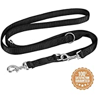 VITAZOO guinzaglio per cani in nero grafite, compatto e regolabile su misure diverse (1,4m – 2,1 m)   guinzaglio premium, guinzaglio a doppia fettuccia, intrecciato