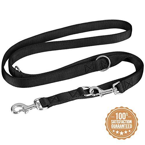vitazoo Premium Hundeleine in schwarz, massiv und verstellbar in 3 Längen – für große und kräftige Hunde geeignet – Hundeführleine, Dopelleine – Gesamtlänge 2m