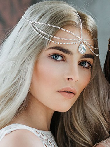 Wasser Göttin Kostüm - FXmimior Schmuck-Stirnband für Halloween, Hochzeiten, Brautschmuck, Kristallschmuck, Boho-Stirnband, Griechische Kette mit Blumenmotiv, Haarschmuck, Bollywoodschmuck