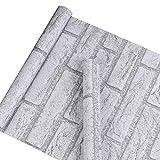 Autocollant Gris Blanc Brique Contact papier Vinyle Peel and Stick papier peint pour maison de cuisine salle de bain Décoration murale 45 x 1000 cm