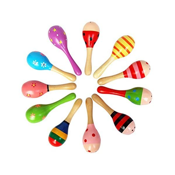 10 PCS Wooden Wood Maraca Rattles Shaker Percussion Kids Musical Toy Favour, Maracas 10, 36 months up
