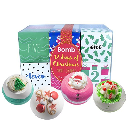 Bomb Cosmetics Twelve Days of Christmas Bath Blaster Advent Calendar Gift Pack, 160 g, Pack of 12