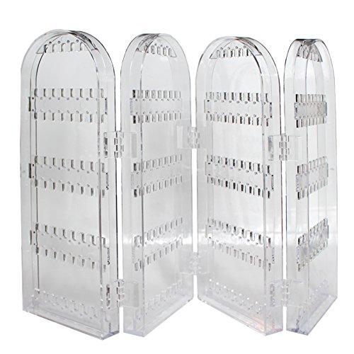 Faltbarer, durchsichtiger Schmuckständer aus Acryl von Kurtzy - großer Stand zum Ausstellen von Ohrringen, Halsketten und Armbändern - Platz für 120 Paar Ohrringe - neutrales Design