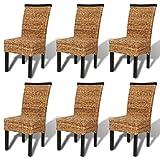 Festnight 6er-Set Essstuhl Esszimmerstühle Essstühle Küchenstuhl Stuhlset Sitzkomfort 47x50x97cm für Küche oder Esszimmer - Braun mit Schwarz
