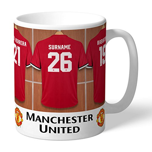 Manchester United Dressing Room Mug. This is a great product that can be personalised to your requirements ( please see main discription for full details ) Ideal gifts and presents for weddings, Christenings, Birthdays, Christmas etc…