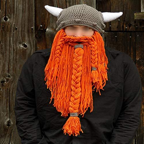 Yzibei Hut große Bartmaske lustig Stricken Handgefertigte Strickmütze Unisex Winter...