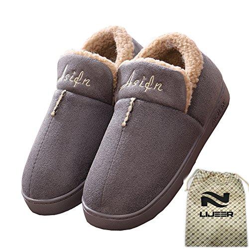 Indoor Home Hausschuhe Cotton Slippers Winter Cozy Memory Schaum Warm Anti-Rutsch Verschleiß-resistenten Wolle Drag Lijeer, Größe EUR41-42=(CN42-43), Farbe Grau