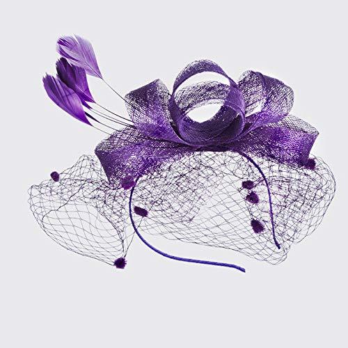 LZY Zylinder für Frauen Vintage Mesh Perle Haarspange Tea Party Hochzeit Kopfbedeckung Cocktail Kentucky Derby Stirnband,Lila