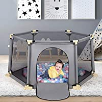 Baby Playpen, 6-Panel Foldable Play Yard Playpen, Large Activity Playpen with Breathable Mesh for Baby Toddlers Infant, Indoor and Outdoor Play, Washable
