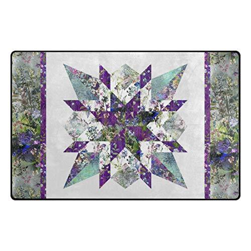 MALPLENA Malpela Star Gazer Quilt-Muster Floral Outdoor Teppich Eingang Weg Fußmatte Bereich Teppich Fußmatte Fußmatte Schuhe Schaber, Polyester, 1, 60 x 39 inch -